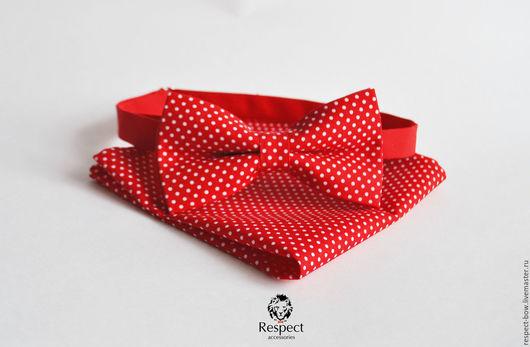 Галстуки, бабочки ручной работы. Ярмарка Мастеров - ручная работа. Купить Красная бабочка галстук в горошек + нагрудный платок / красная свадьба. Handmade.