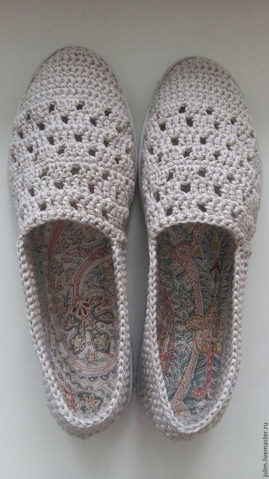 Обувь ручной работы. Ярмарка Мастеров - ручная работа. Купить Летняя обувь ручной работы. Слиперы лен.. Handmade. Серый