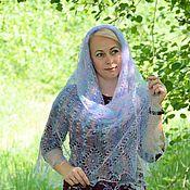 Аксессуары handmade. Livemaster - original item Shawls: Openwork neck scarf-gossamer with sequins downy. Handmade.