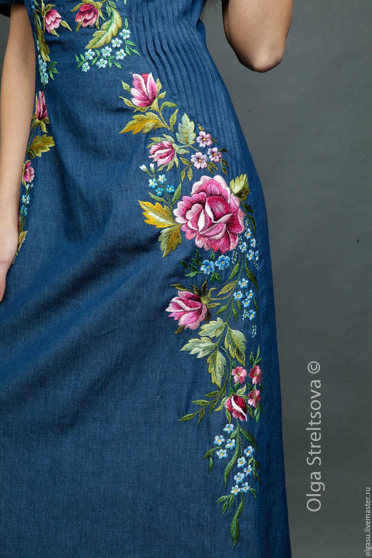 bc3f21de670 Длинное платье с вышивкой тёмно-синее – купить в интернет-магазине ...