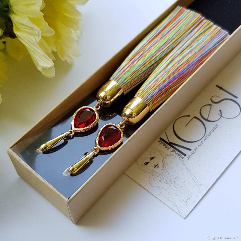 Brush earrings 'rainbow', Tassel earrings, Oktyabrsky,  Фото №1