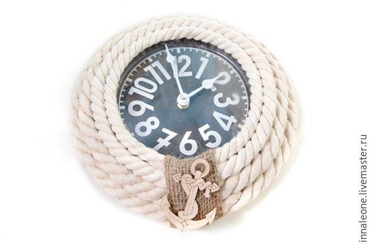"""Часы для дома ручной работы. Ярмарка Мастеров - ручная работа. Купить Настенные часы плетеные из каната """"Корабельные"""". Handmade. Плетение"""