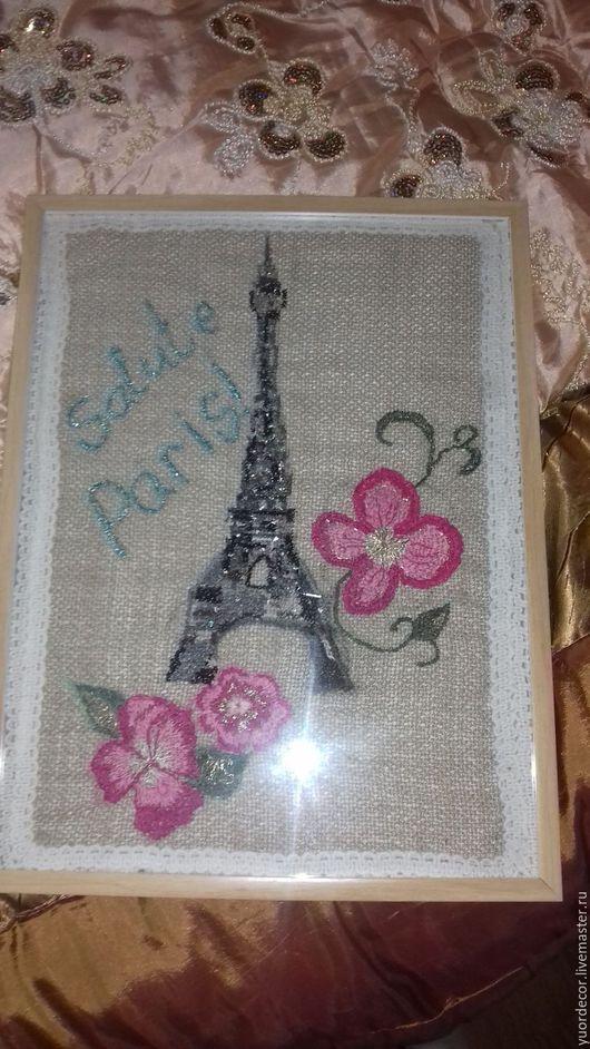 """Город ручной работы. Ярмарка Мастеров - ручная работа. Купить Панно """"Salute Paris"""". Handmade. Серый, розовый кварц"""