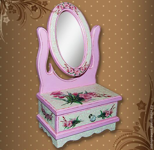 """Мини-комоды ручной работы. Ярмарка Мастеров - ручная работа. Купить Миникомод с зеркалом """"Кокетство"""". Handmade. Розовый, подарок"""