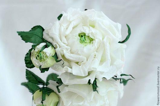 """Цветы ручной работы. Ярмарка Мастеров - ручная работа. Купить Роза из шелка """"Нежность белого цвета """". Handmade."""