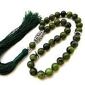 """Четки ручной работы. Ярмарка Мастеров - ручная работа Четки из нефрита """"Истина"""" 33 камня с кистью зеленые. Handmade."""