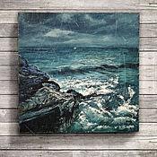 Картины и панно ручной работы. Ярмарка Мастеров - ручная работа картина Стихия (морской пейзаж, глубокий синий, буря, волны, лофт). Handmade.
