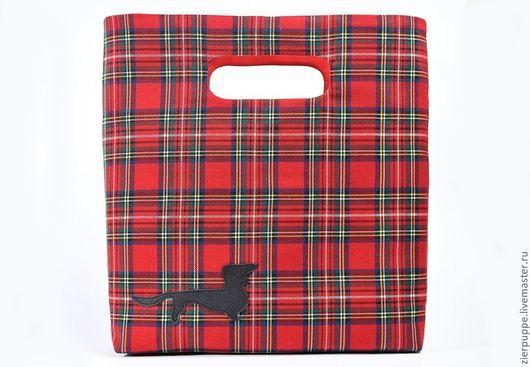 Женские сумки ручной работы. Ярмарка Мастеров - ручная работа. Купить Шотландская такса. Handmade. Ярко-красный, шотландка, шерсть