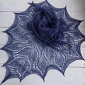 Аксессуары ручной работы. Ярмарка Мастеров - ручная работа синяя шаль. Handmade.