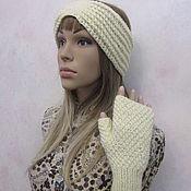 Аксессуары handmade. Livemaster - original item Set - armband and mitts, half-wool, in milk color.. Handmade.