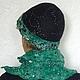"""Комплекты аксессуаров ручной работы. Валяный комплект """"Изумрудная ночь"""" шляпка шарф зелёный чёрный женский.. Ирина (iresh). Ярмарка Мастеров."""