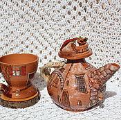 Посуда ручной работы. Ярмарка Мастеров - ручная работа Чайник и чашка Итальянские дворики керамика. Handmade.