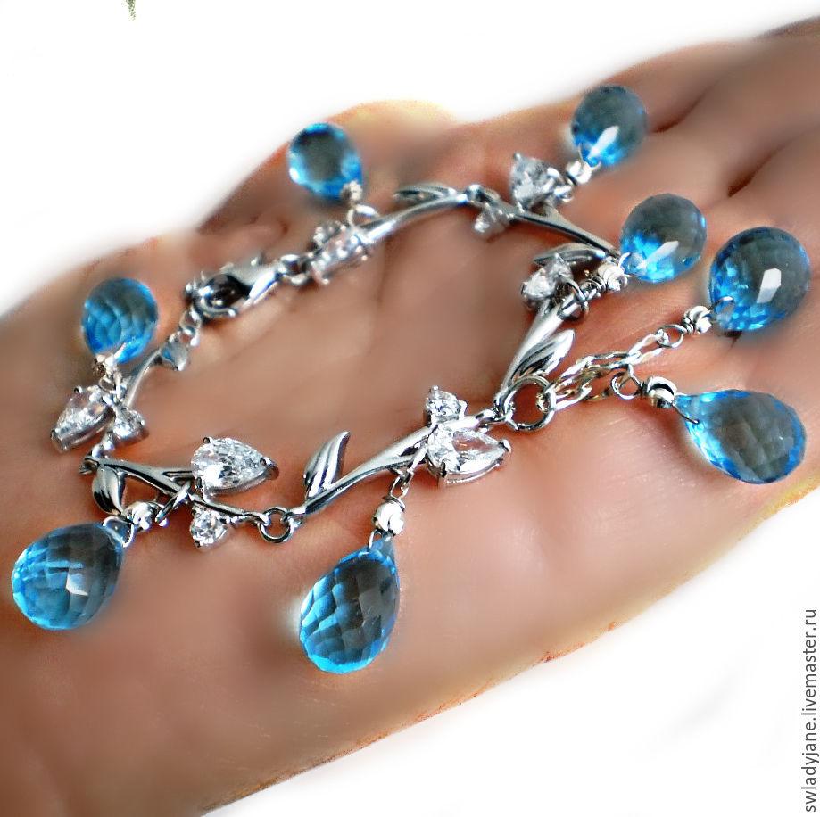 Серебряный браслет с топазами Swiss blue Италия купить(Серьги Кольцо)