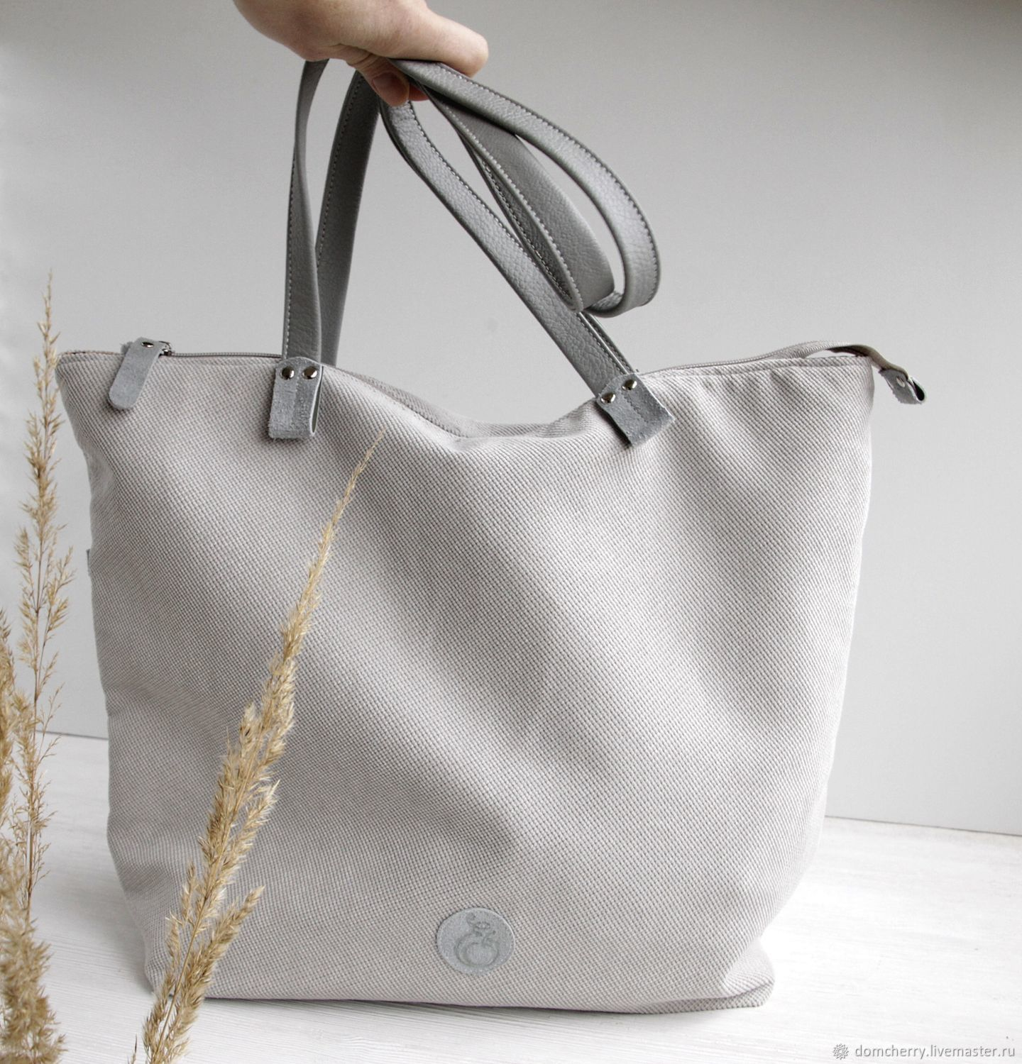 Copy of Autumn women's shopper bag with embroidery with short handles, Shopper, Pskov,  Фото №1