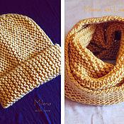Работы для детей, handmade. Livemaster - original item Set knitted Sand Dune, knitted hat, scarf - snud.. Handmade.