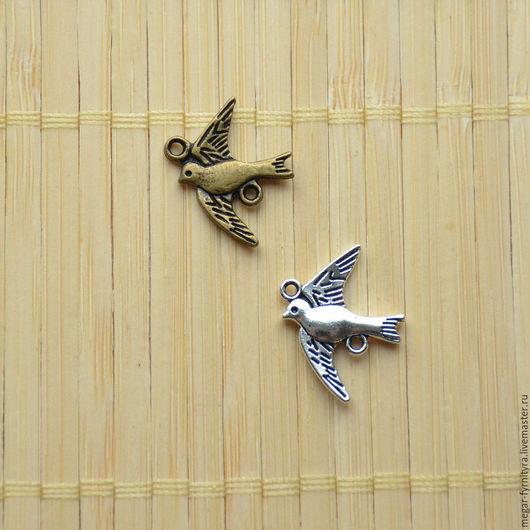 Для украшений ручной работы. Ярмарка Мастеров - ручная работа. Купить Коннектор Птица 3D (17x21 мм). Handmade. Бронза