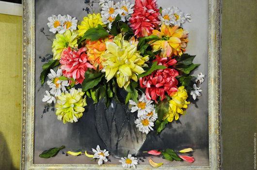 Картины цветов ручной работы. Ярмарка Мастеров - ручная работа. Купить хризантема с ромашками. Handmade. Ярко-красный, ручная работа