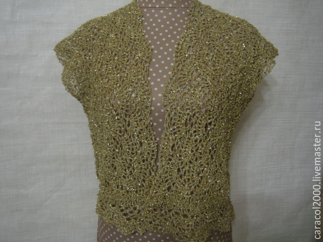 """Knitted lacy vest """"Golden"""", Vests, St. Petersburg,  Фото №1"""