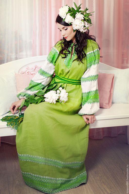 """Этническая одежда ручной работы. Ярмарка Мастеров - ручная работа. Купить Платье """"Этно"""" светло-зеленое. Handmade. Ярко-зелёный"""