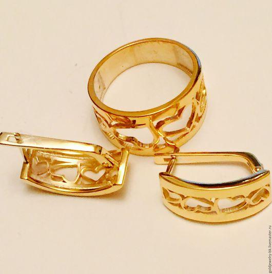Комплекты украшений ручной работы. Ярмарка Мастеров - ручная работа. Купить Серебряный Комплект кольцо серьги  925 пробы 18K позолота Сердечки. Handmade.