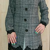 Одежда ручной работы. Ярмарка Мастеров - ручная работа авторский плащ-пальто с кружевом. Handmade.