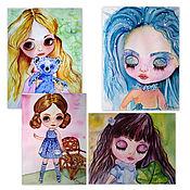 Открытки handmade. Livemaster - original item Set of postcards dolls Blythe. Handmade.