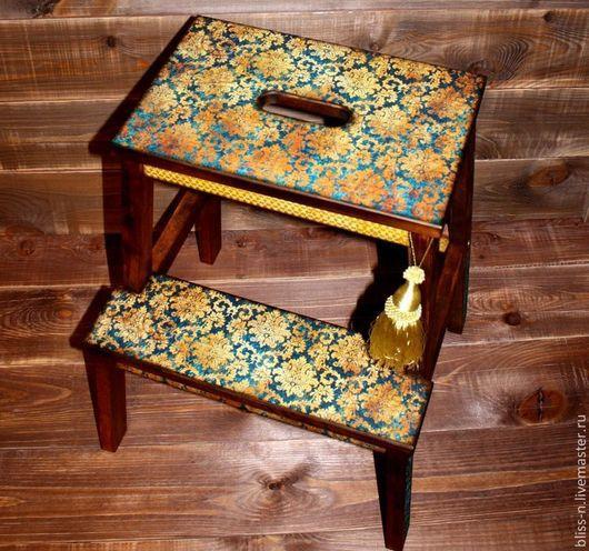 """Мебель ручной работы. Ярмарка Мастеров - ручная работа. Купить Табурет-стремянка """"Luxury"""". Handmade. Тёмно-синий, лестница для дома"""
