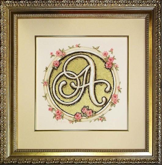 Символизм ручной работы. Ярмарка Мастеров - ручная работа. Купить Инициал А в розах. Handmade. Бежевый, монограмма, розы, подарок