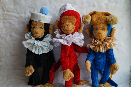 Мишки Тедди ручной работы. Ярмарка Мастеров - ручная работа. Купить обезьянка игрушка Тим, Том и Тома. Handmade.
