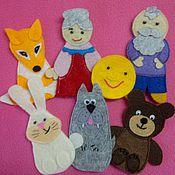 """Куклы и игрушки ручной работы. Ярмарка Мастеров - ручная работа Пальчиковый театр """"Колобок"""". Handmade."""