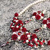 """Украшения ручной работы. Ярмарка Мастеров - ручная работа Колье натуральный жемчуг , розы по мотивам Dolce & Gabbana  """" Rush """". Handmade."""
