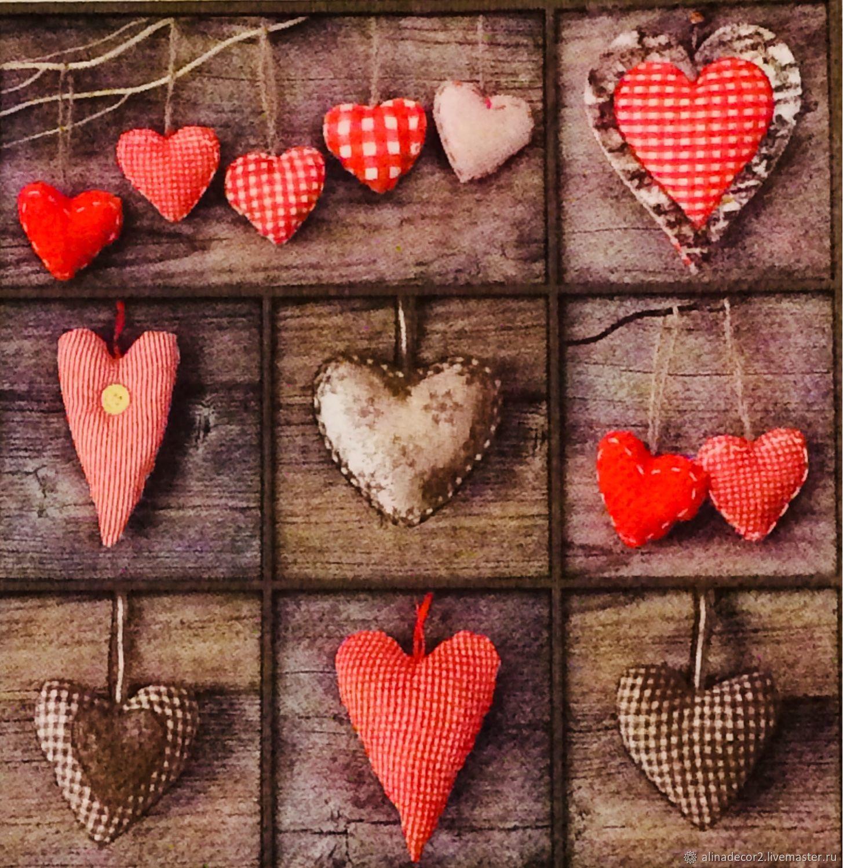 388. 25x25!  Napkin for decoupage Decorative heart, Napkins for decoupage, Ramenskoye,  Фото №1