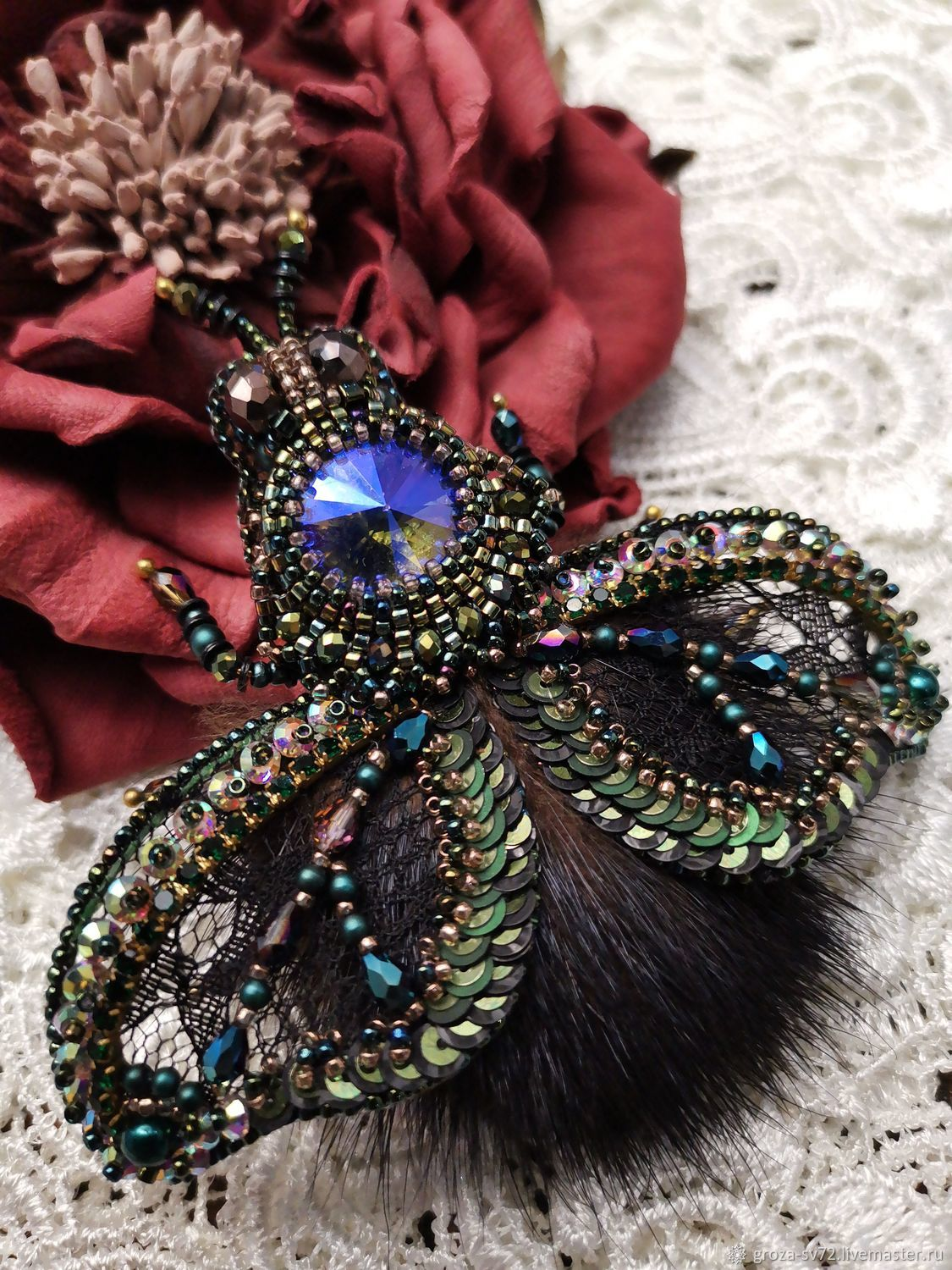 Green moth, Brooches, Moscow,  Фото №1