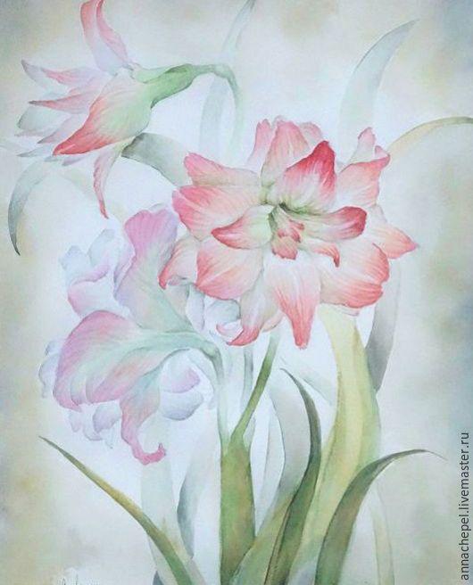 Гиппеаструмы. Анна Чепель. 70 x 50 см., бумага, акварель, 2001.  Розовые цветы с листьями на сероватом фоне.