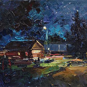 Картины и панно ручной работы. Ярмарка Мастеров - ручная работа ``Летняя ночь`` картина маслом пейзаж. Handmade.