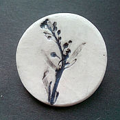 Украшения handmade. Livemaster - original item Porcelain brooch with a print of the plant. Handmade.