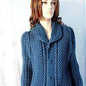 Одежда ручной работы. Ярмарка Мастеров - ручная работа Вязаное пальто ручной работы Джинс. Handmade.