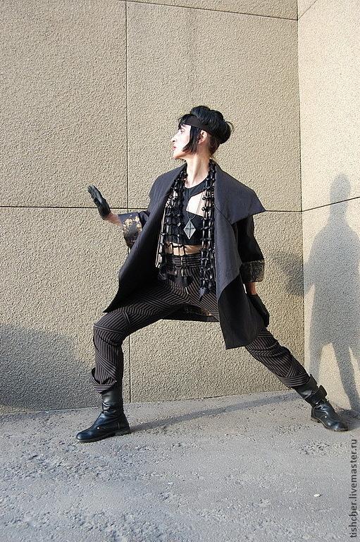 """Верхняя одежда ручной работы. Ярмарка Мастеров - ручная работа. Купить Пыльник - мини пальто SPORT """"Графика"""". Handmade. Черный"""