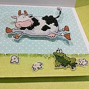 """Открытки ручной работы. Ярмарка Мастеров - ручная работа открытка - вышивка """" Весна. Про любовь """". Handmade."""
