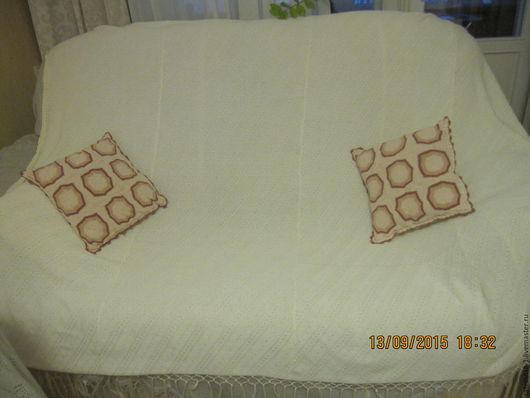 Текстиль, ковры ручной работы. Ярмарка Мастеров - ручная работа. Купить Плед вязаный. Handmade. Белый, большой вязанный плед