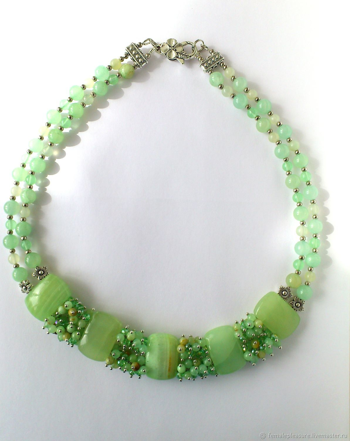 Onyx necklace Jade necklace Jewelry with onyx Green Necklace Hand made, Necklace, Volgograd,  Фото №1