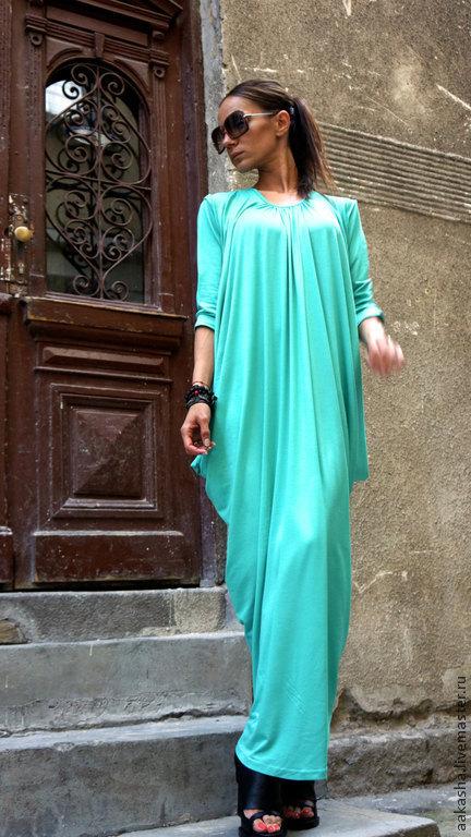 длинное платье летнее платье платье в пол яркое платье мятное платье