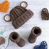 Работы для детей, handmade. Livemaster - original item hat and booties, Teddy bear hat for a boy, brown, beige. Handmade.