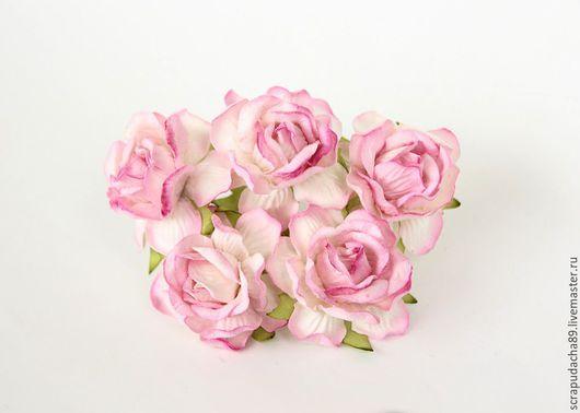 Открытки и скрапбукинг ручной работы. Ярмарка Мастеров - ручная работа. Купить Розы кудрявые большие розово-белые. Handmade. Скрапбукинг
