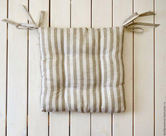 Текстиль, ковры ручной работы. Ярмарка Мастеров - ручная работа. Купить Подушка на стул лен квадратная. Handmade. Серый