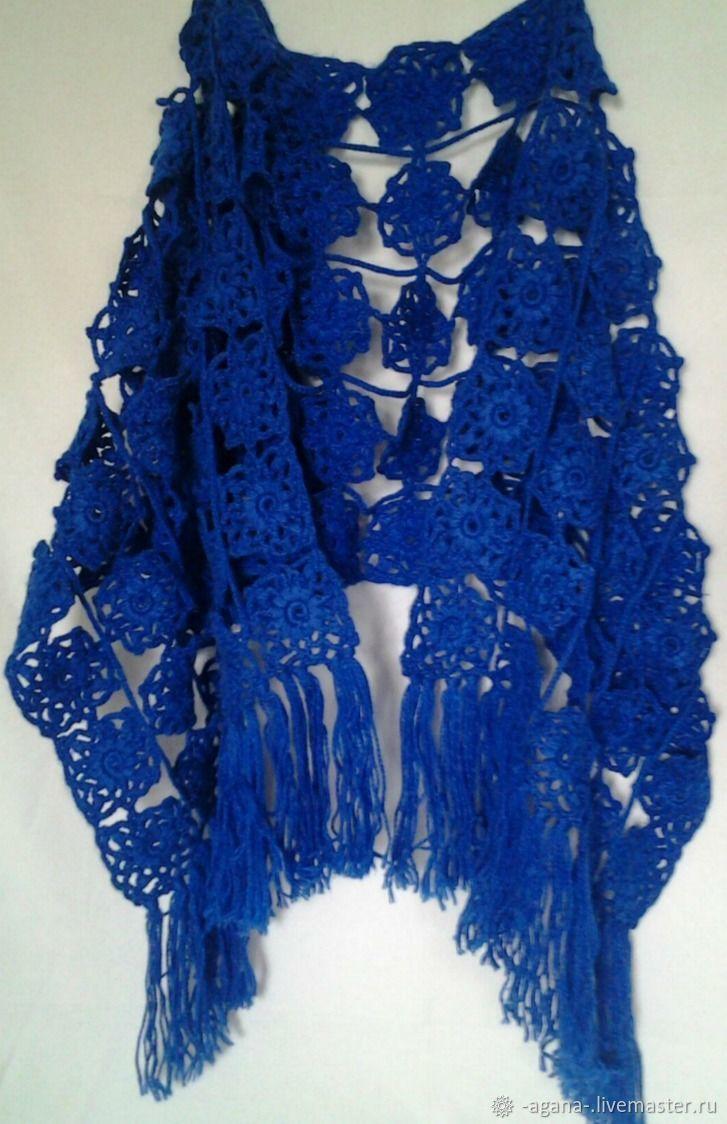 Синий ажурный палантин для стильной дамы, Палантины, Ярославль,  Фото №1