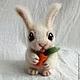 Игрушки животные, ручной работы. Заюшка с морковкой. Тополюшка (Полина Бабаева). Интернет-магазин Ярмарка Мастеров. Зайчик, кролик, милый