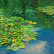 Картины и панно handmade. Livemaster - original item oil painting on canvas with stretcher. A pond with water lilies.. Handmade.