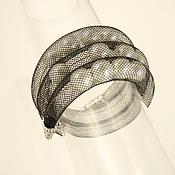 Украшения handmade. Livemaster - original item Mesh tube bracelet with pearls, 3-strand. Handmade.