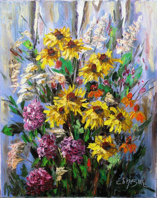 """Картины цветов ручной работы. Ярмарка Мастеров - ручная работа. Купить """"Милые дачные радости"""" картина маслом на холсте. Handmade."""
